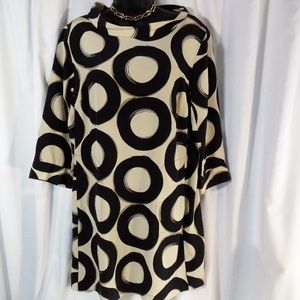 Alfani 100% Silk Pullover Sz 12 Cream Black Dress